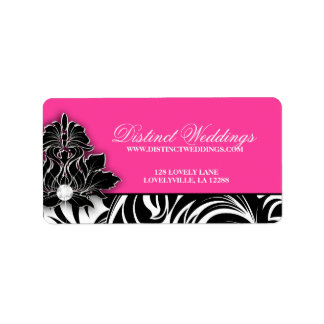 Rosa elegante del logotipo de la joyería de la etiqueta de dirección