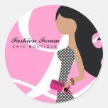 rosa elegante del pegatina del fashionista