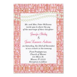 Rosa elegante, oro, y invitación del boda de la