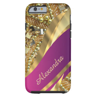 Rosa elegante personalizado y oro bling funda de iPhone 6 tough
