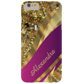 Rosa elegante personalizado y oro bling funda de iPhone 6 plus barely there