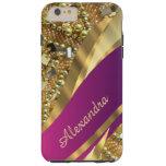 Rosa elegante personalizado y oro bling funda de iPhone 6 plus tough