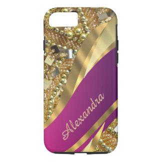Rosa elegante personalizado y oro bling funda iPhone 7