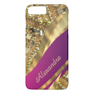 Rosa elegante personalizado y oro bling funda iPhone 7 plus