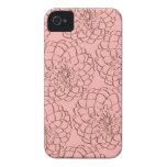 Rosa elegante y dibujo de bosquejo de la flor de B iPhone 4 Cobertura