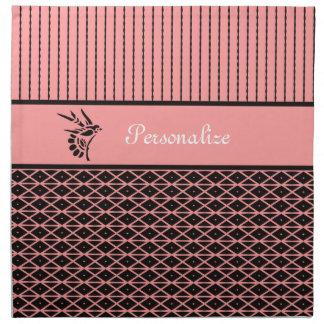 Rosa elegante y elegante y rayas de Brown con Servilleta Imprimida