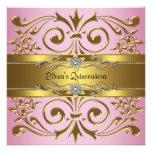 Rosa elegante y oro Quinceanera Invitación Personalizada
