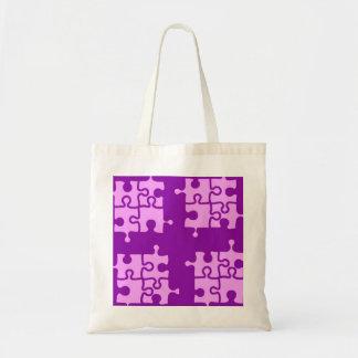 rosa en bolso púrpura del rompecabezas bolsa tela barata
