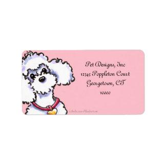 Rosa en caniche rosado del cuello etiquetas de dirección