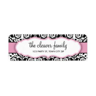 Rosa en colores pastel del negro elegante del dama etiqueta de remitente