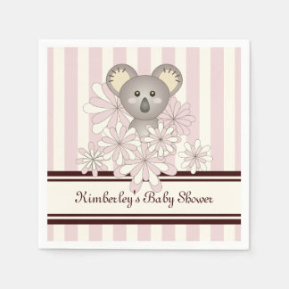 Rosa en colores pastel personalizado koala linda servilletas desechables