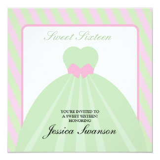 """Rosa en colores pastel y dulce formal verde invitación 5.25"""" x 5.25"""""""