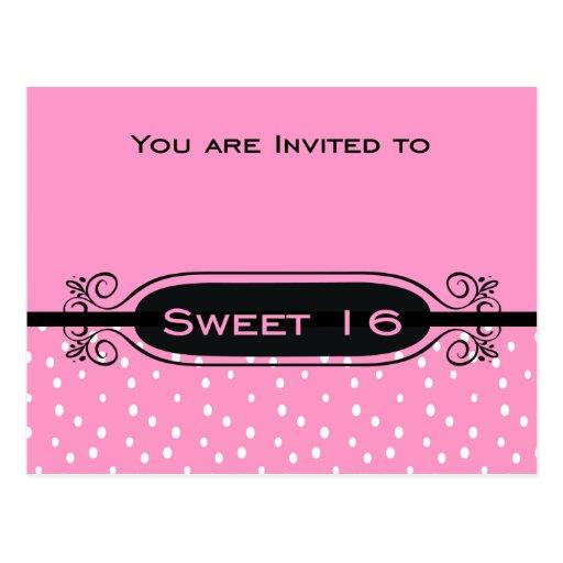 Rosa en la invitación blanca del fiesta del dulce  tarjeta postal