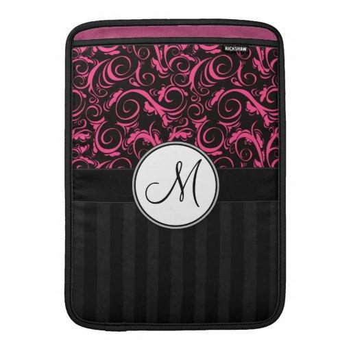 Rosa en las briznas florales negras, rayas con el  fundas para macbook air