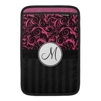 Rosa en las briznas florales negras, rayas con el  fundas MacBook