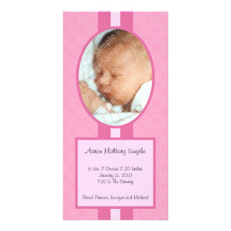 Rosa en nueva tarjeta de la foto del bebé del tarjetas fotograficas