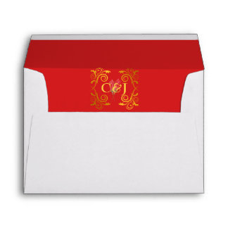 Rosa enmarcado oro rojo apasionado de las sobres