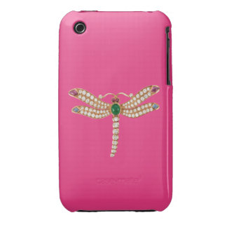 Rosa esmeralda del caso del iPhone 3 de la libélul Case-Mate iPhone 3 Cárcasas