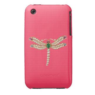 Rosa esmeralda del caso del iPhone 3 de la libélul iPhone 3 Protectores