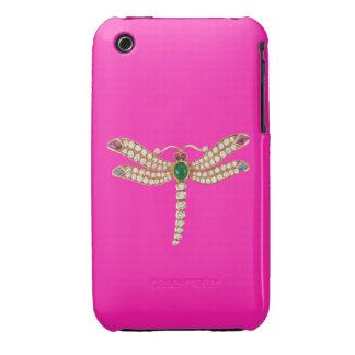 Rosa esmeralda del caso del iPhone 3 de la libélul iPhone 3 Protector