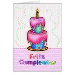 Rosa español de la torta de cumpleaños de la diver tarjetón