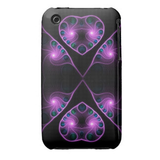 Rosa estéreo del fractal del corazón del amor iPhone 3 protectores