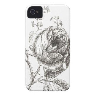 rosa estilo vintage dibujo a lapiz iPhone 4 Case-Mate carcasa