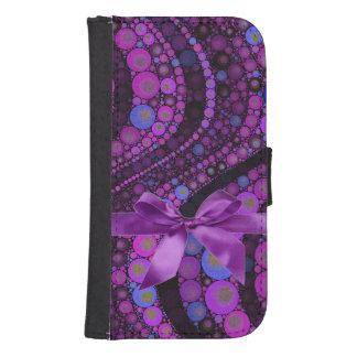 Rosa, extracto púrpura con la caja de la cartera funda billetera para teléfono