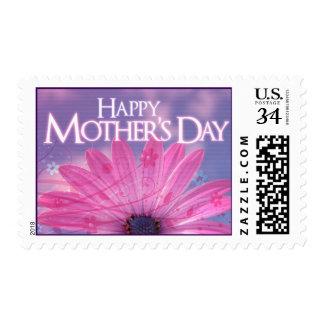 Rosa feliz del día de madre y diseño floral sellos postales