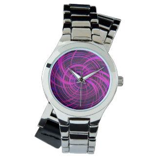 Rosa feliz, negro (c) reloj de mano