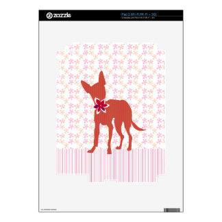 Rosa femenino de la chihuahua de moda moderna del iPad 2 calcomanía