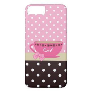 Rosa femenino de la taza de té y arco y nombre del funda iPhone 7 plus