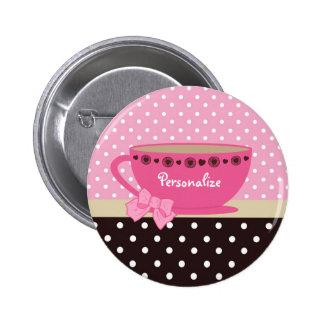 Rosa femenino de la taza de té y arco y nombre del pins