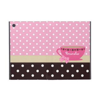 Rosa femenino de la taza de té y lunares de Brown iPad Mini Fundas