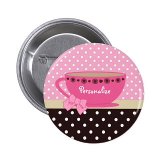 Rosa femenino de la taza de té y lunares de Brown Pins