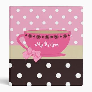 """Rosa femenino de las recetas de la taza de té y carpeta 1"""""""