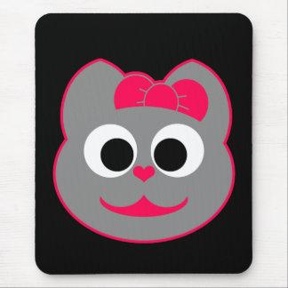 Rosa femenino del gatito - gris mouse pad