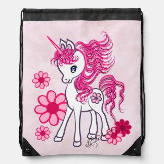 Rosa femenino lindo del unicornio mochilas