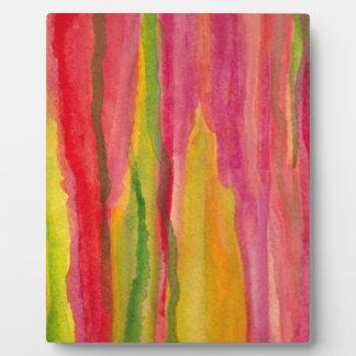 Rosa femenino, pintura abstracta amarilla de la placa de madera