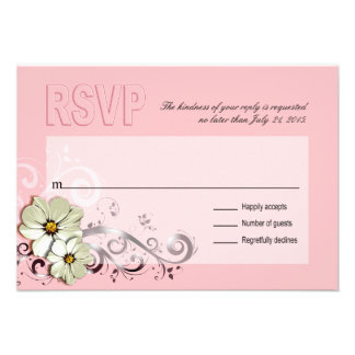 Rosa floral adornado de RSVP el del Flourish Comunicado Personalizado