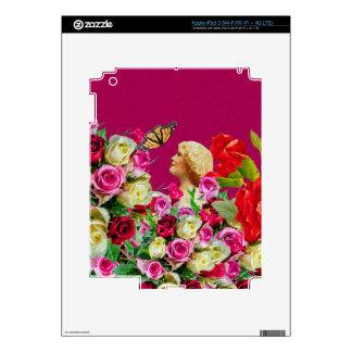 Rosa floral de la mariposa de la mujer del vintage pegatinas skins para iPad 3
