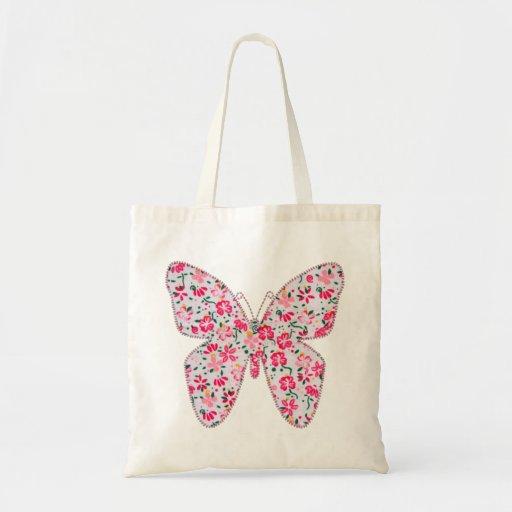 Rosa floral de la mariposa de la tela del Applique Bolsas De Mano