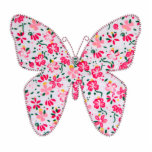 Rosa floral de la mariposa de la tela del Applique Esculturas Fotográficas