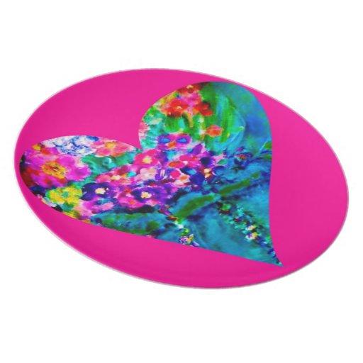 Rosa floral de la placa del corazón del arte capri plato