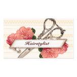 rosa floral del estilista del hairstylist del tarjetas de visita