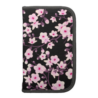 Rosa floral del negro de las flores de cerezo planificador