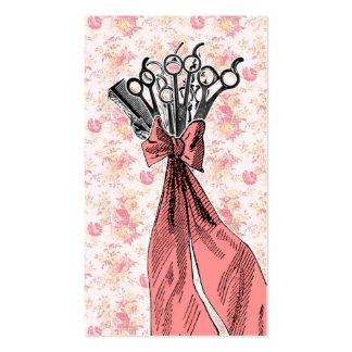rosa floral del ramo del estilista del vintage fem tarjeta de negocio
