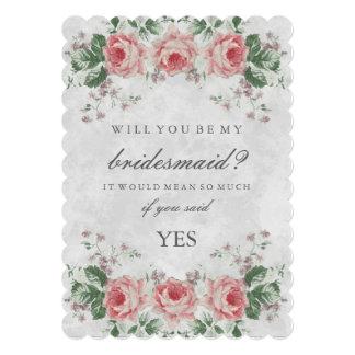 """Rosa floral del vintage usted será mi dama de invitación 5"""" x 7"""""""