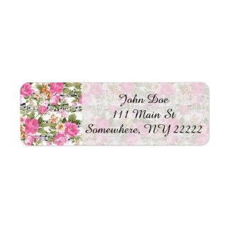 Rosa floral en partitura etiqueta de remite