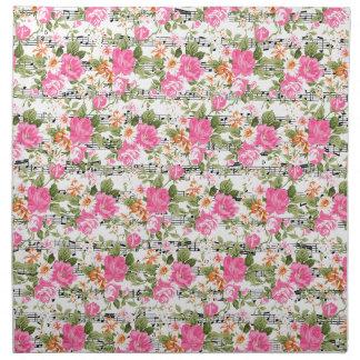 Rosa floral en partitura servilleta imprimida